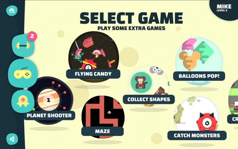AmblyoPlay games selection menu